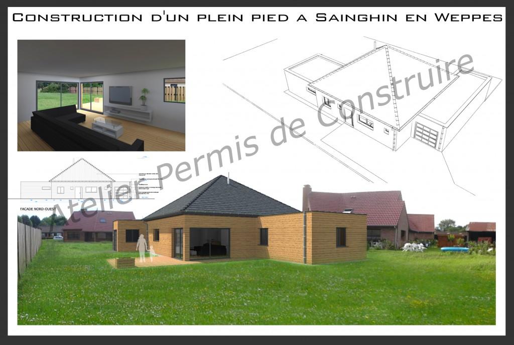 12.17. Atelier permis de construire Maison Plein Pied Sainghin en Weppes