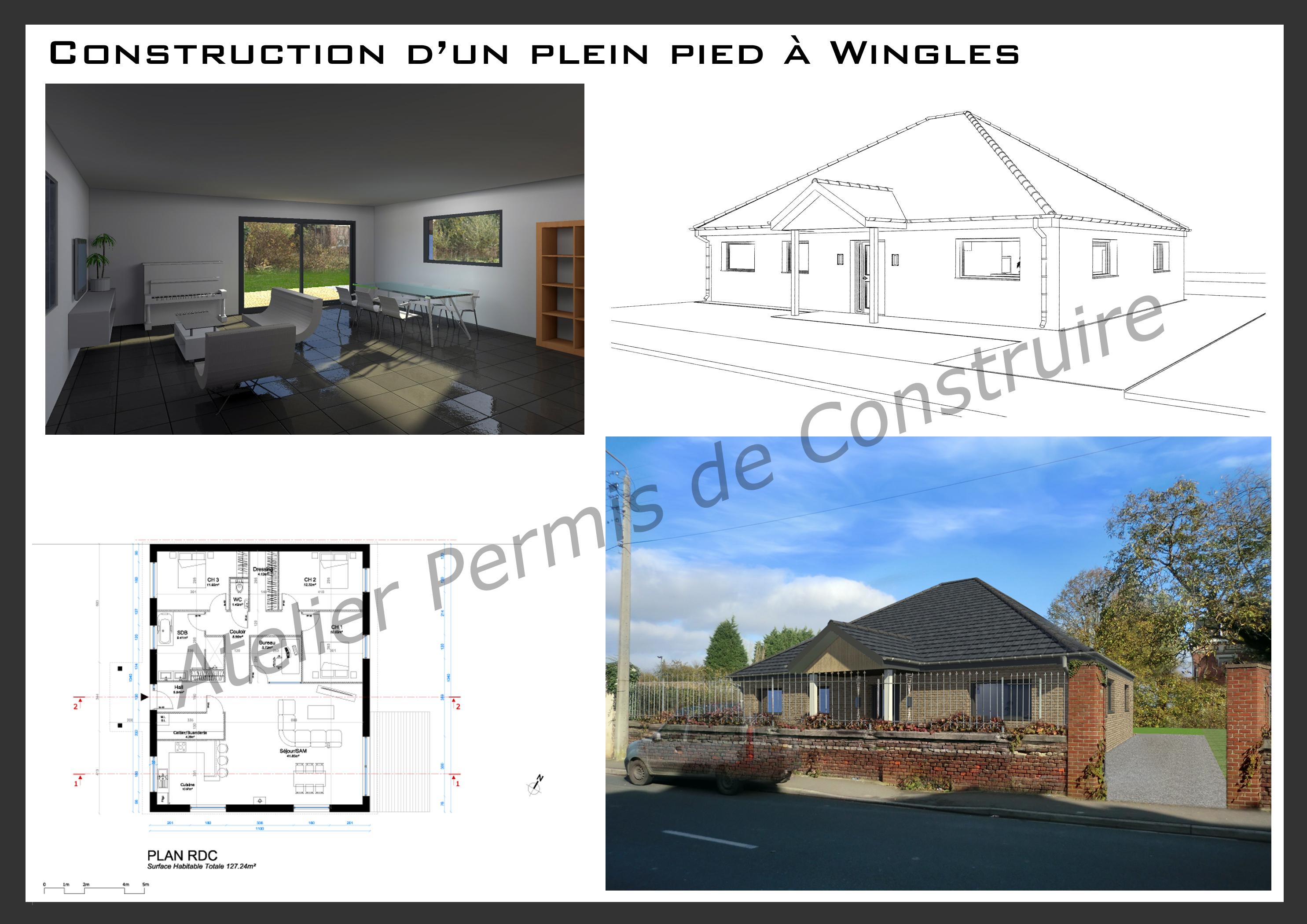 construction d 39 un plain pied wingles. Black Bedroom Furniture Sets. Home Design Ideas
