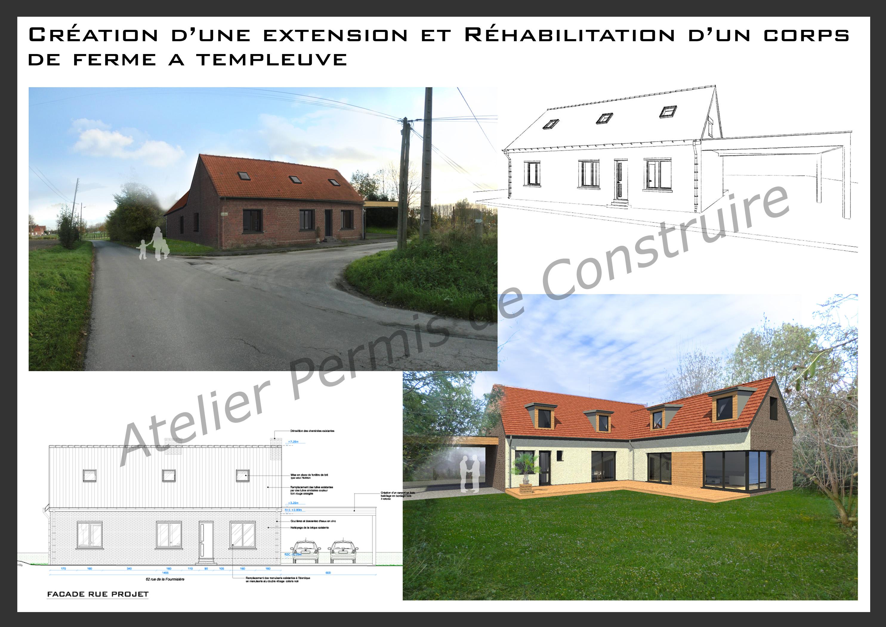 R habilitation avec extension d 39 un corps de ferme templeuve for Permis de construire pour agrandissement