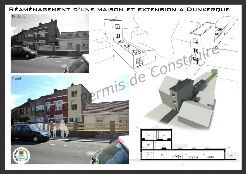 14.08 Extension maison étroite Dunkerque - Atelier permis de construire