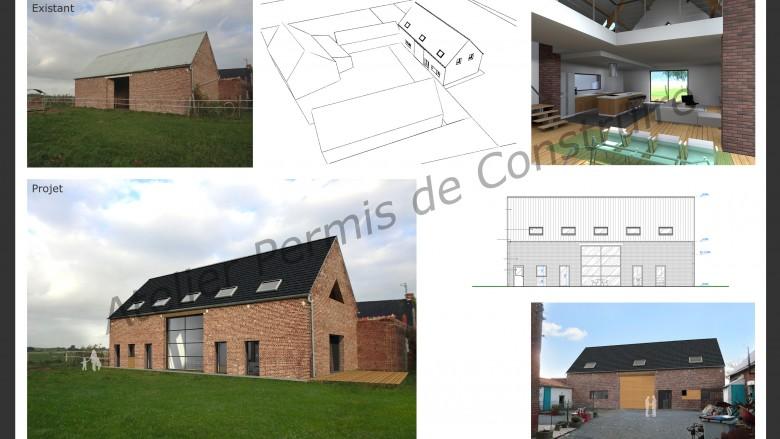 grange transform e atelier permis de construire. Black Bedroom Furniture Sets. Home Design Ideas