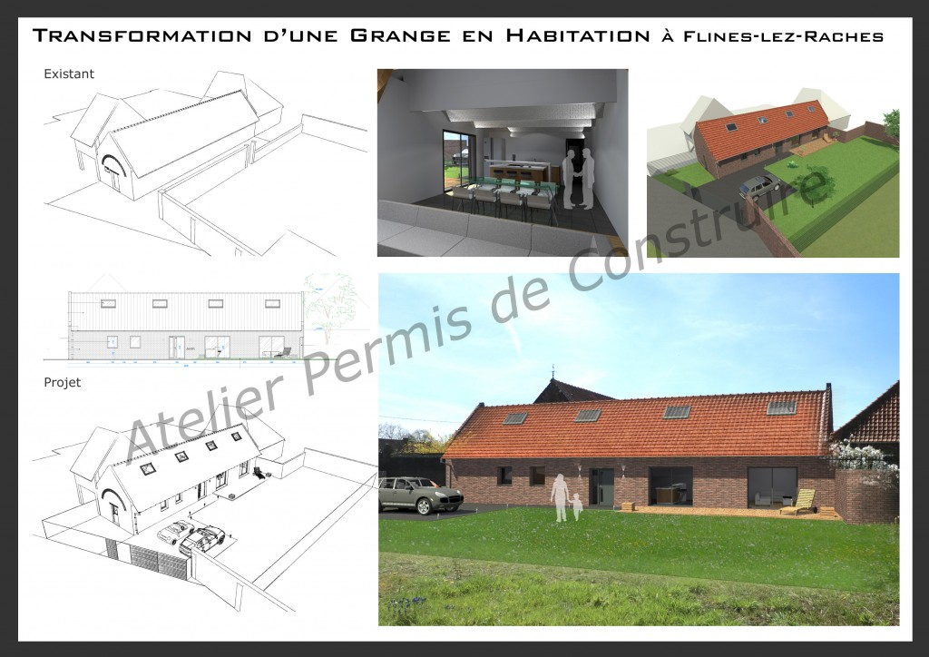 15.12 rénovation d'une grange Nord Permis de construire Fline-lez-raches