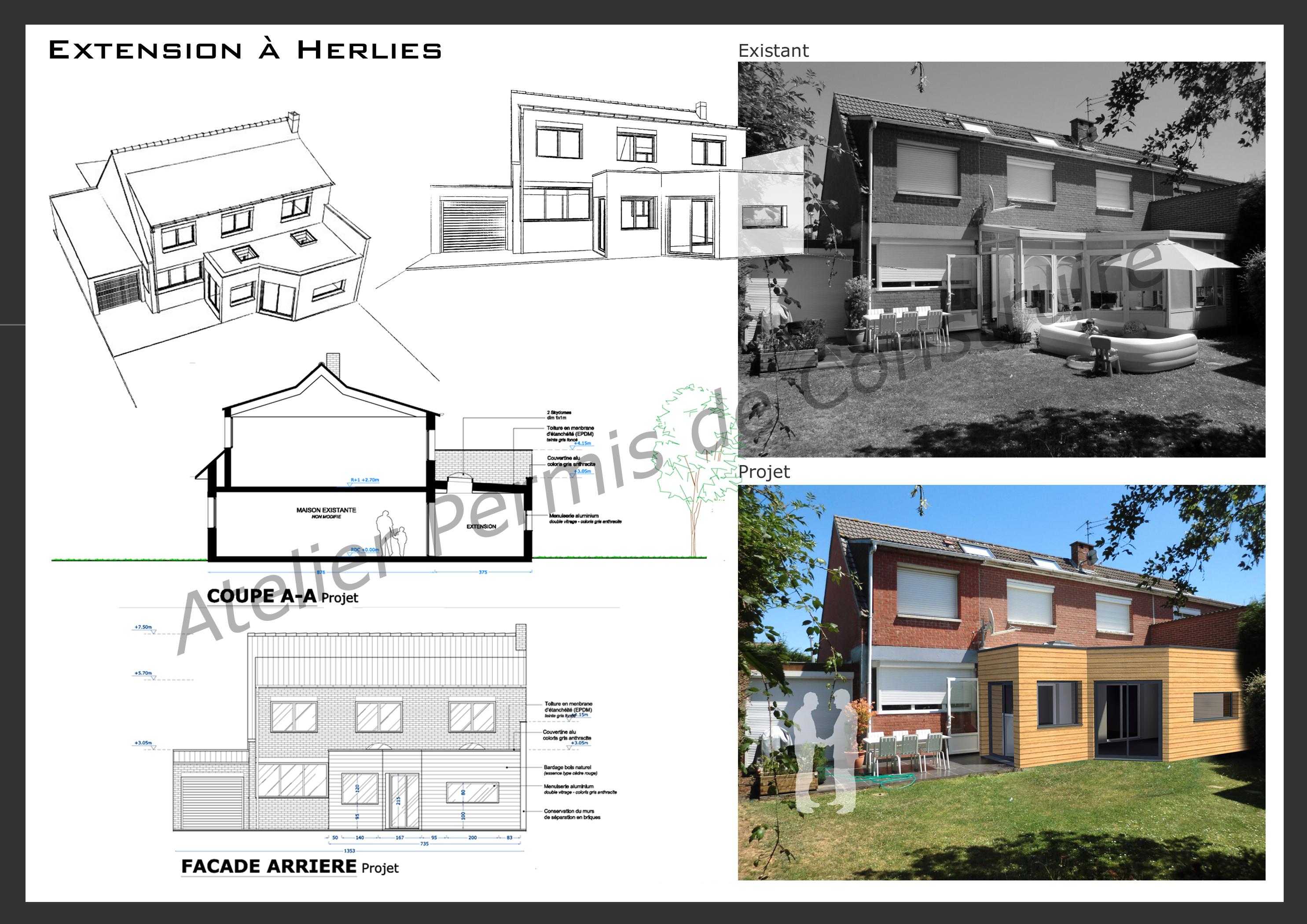 15.22 Atelier Permis de construire extension nord Herlies