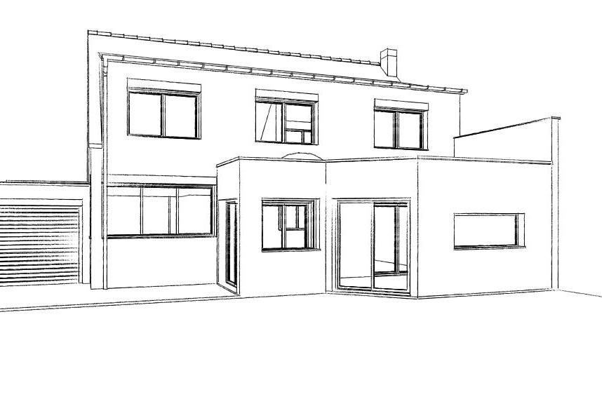 Extension d une maison herlies atelier permis de for Amenagement de combles permis de construire