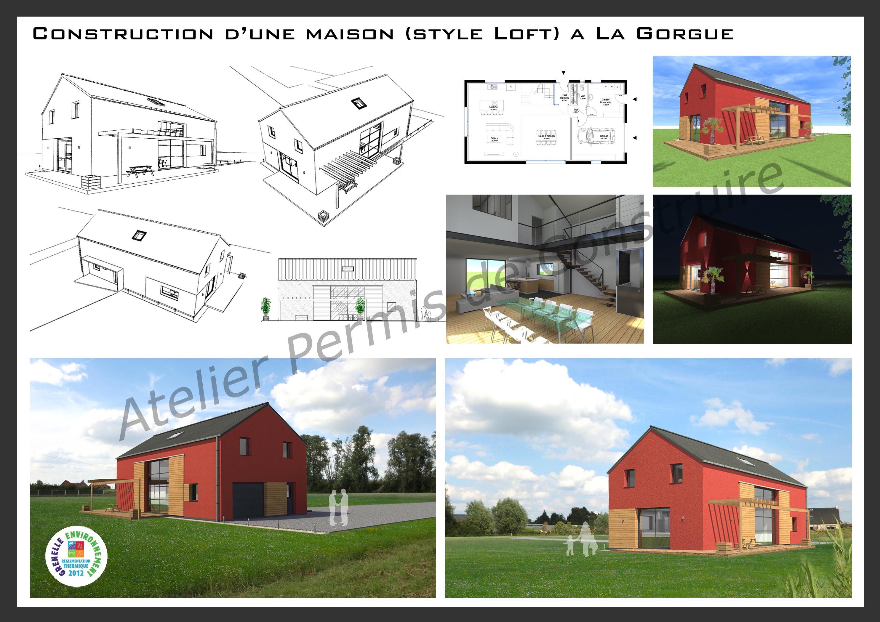 15.08 Atelier Permis de construire construction maison Loft La Gorgue