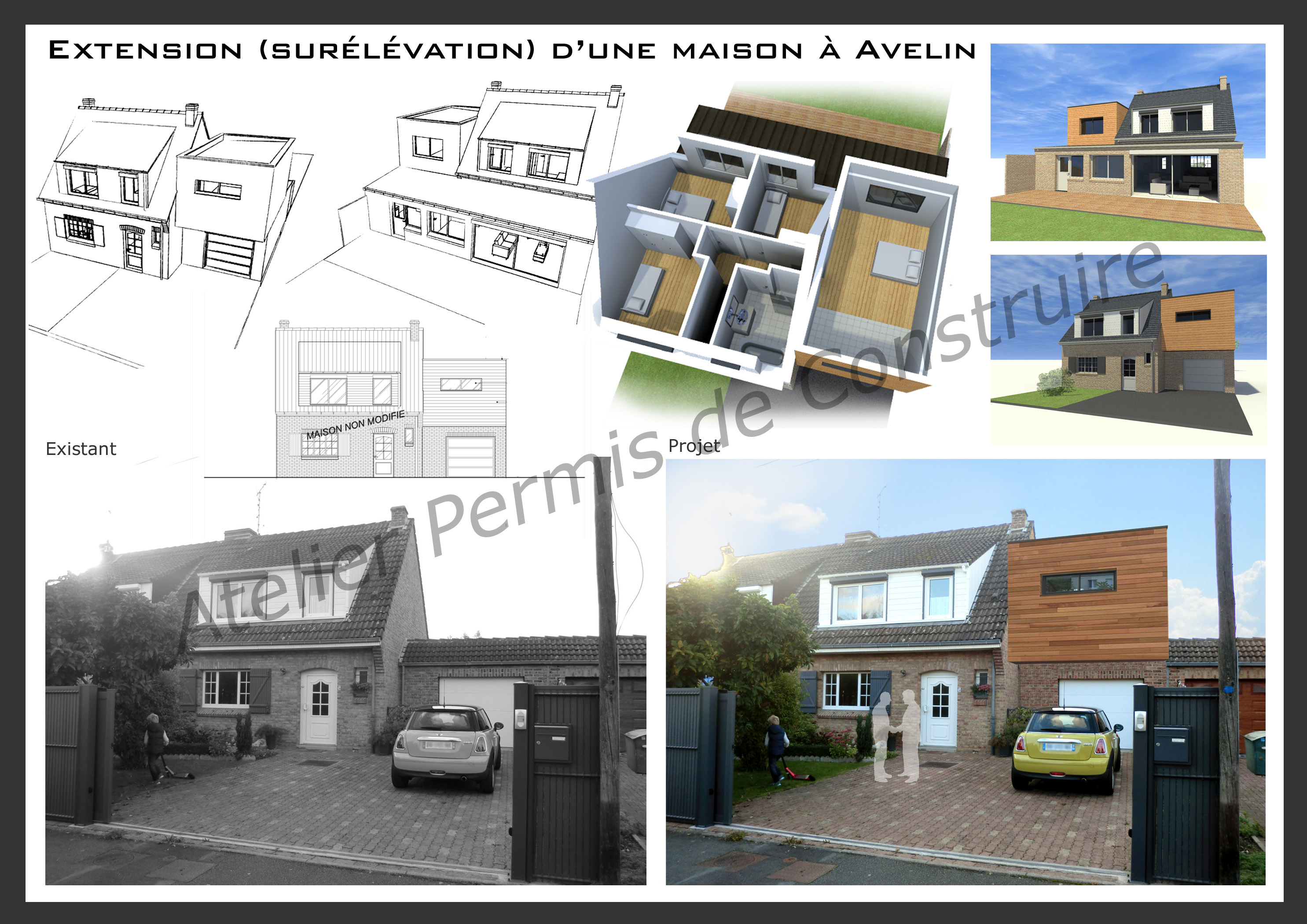 Extension d 39 une maison sur l vation avelin for Permis de construire extension maison