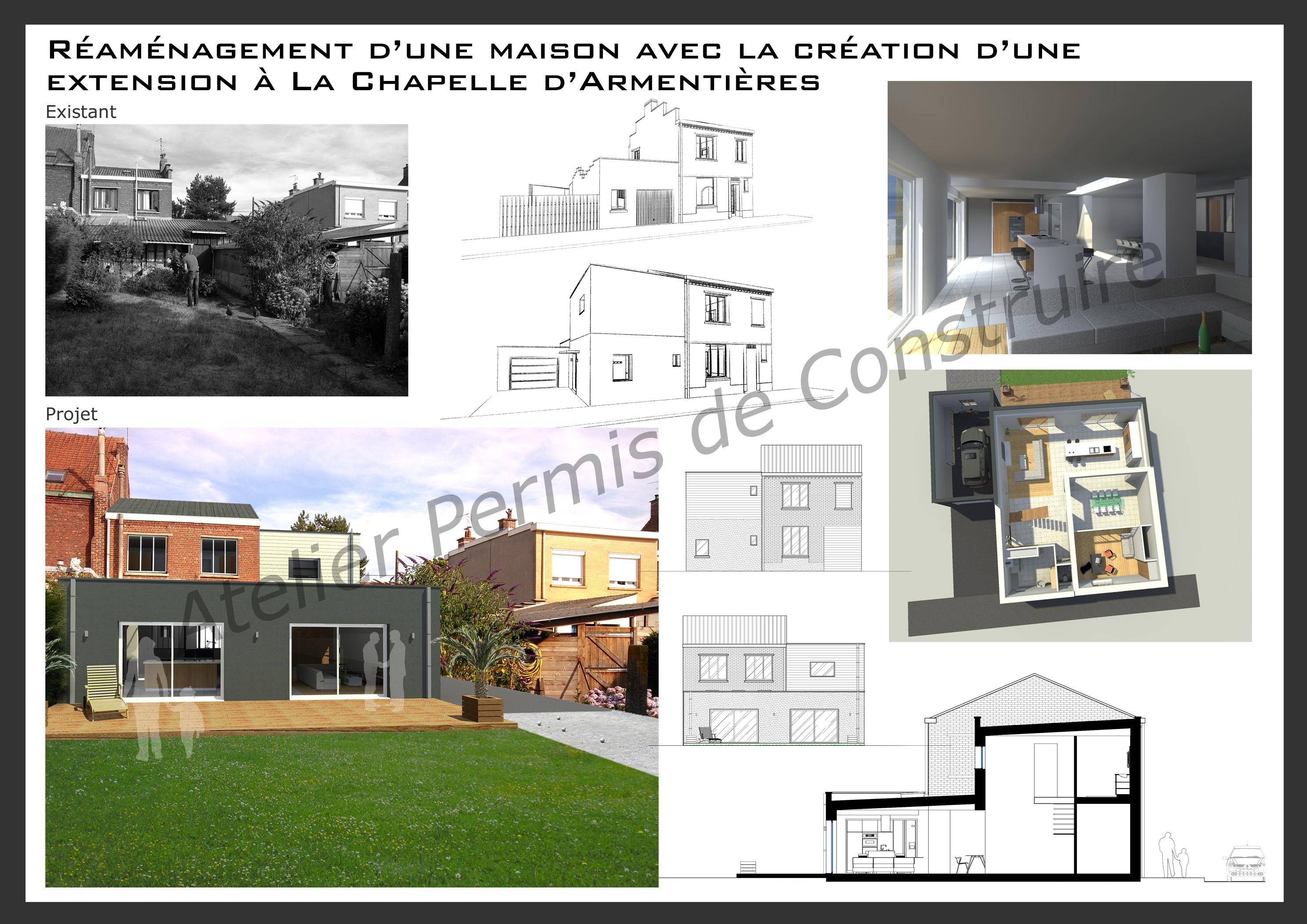 15.27 Atelier Permis de construire extension maison nord la chapelle d'Armentières