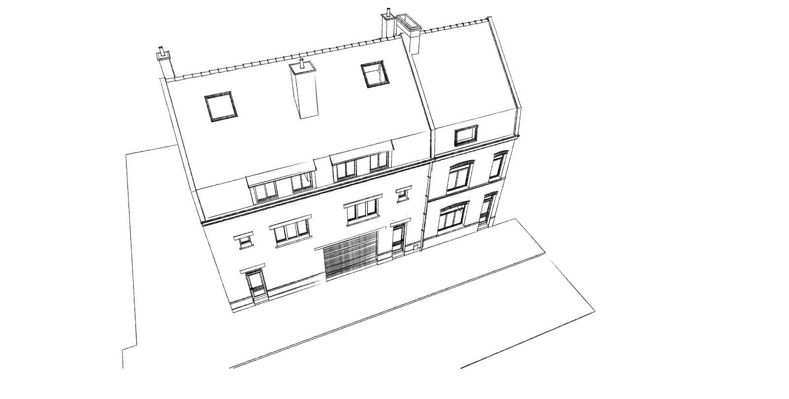 Division d une maison en 3 appartements avec l am nagement des combles la chapelle d for Amenagement combles permis de construire