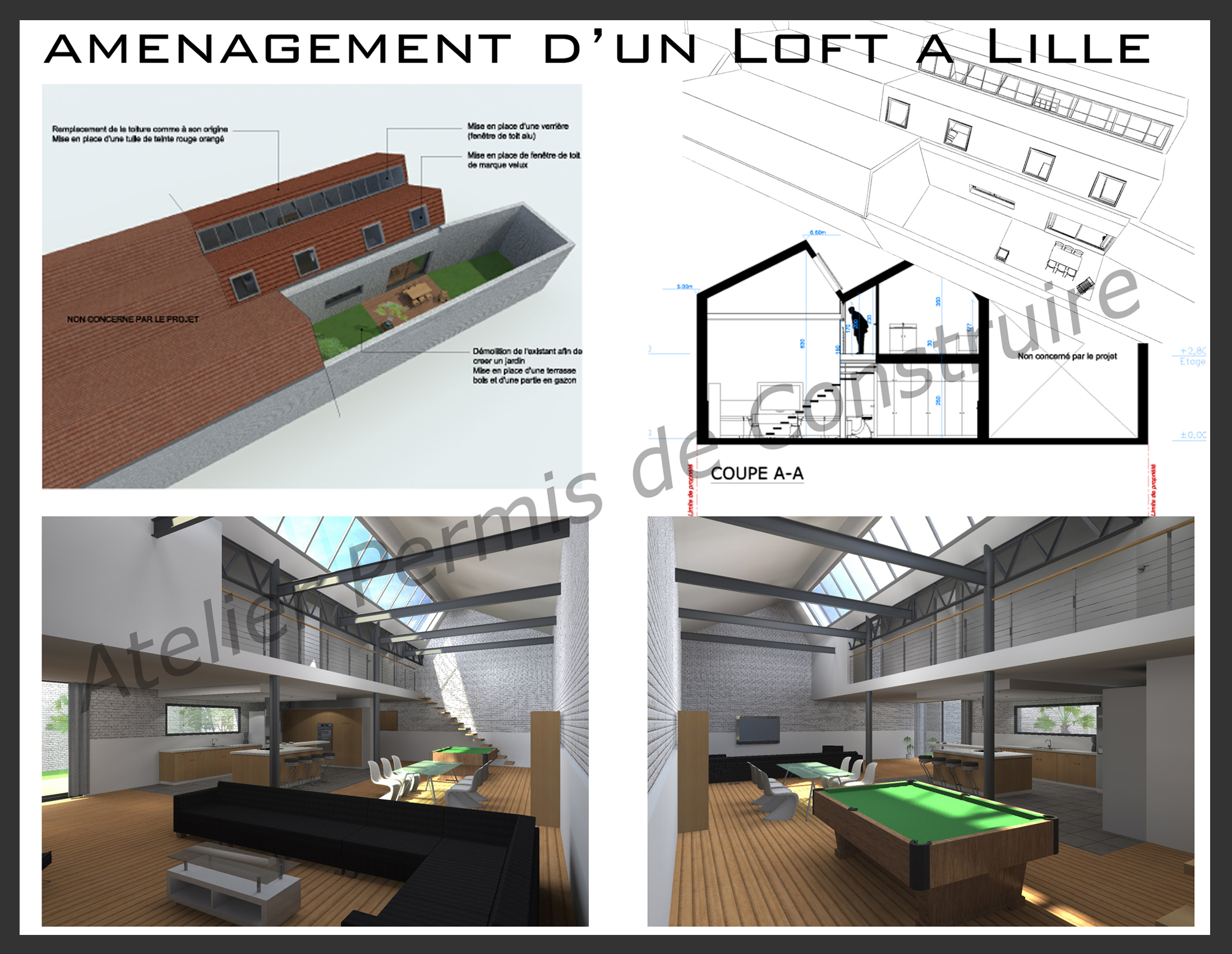Am nagement d 39 un loft lille for Amenagement combles permis de construire
