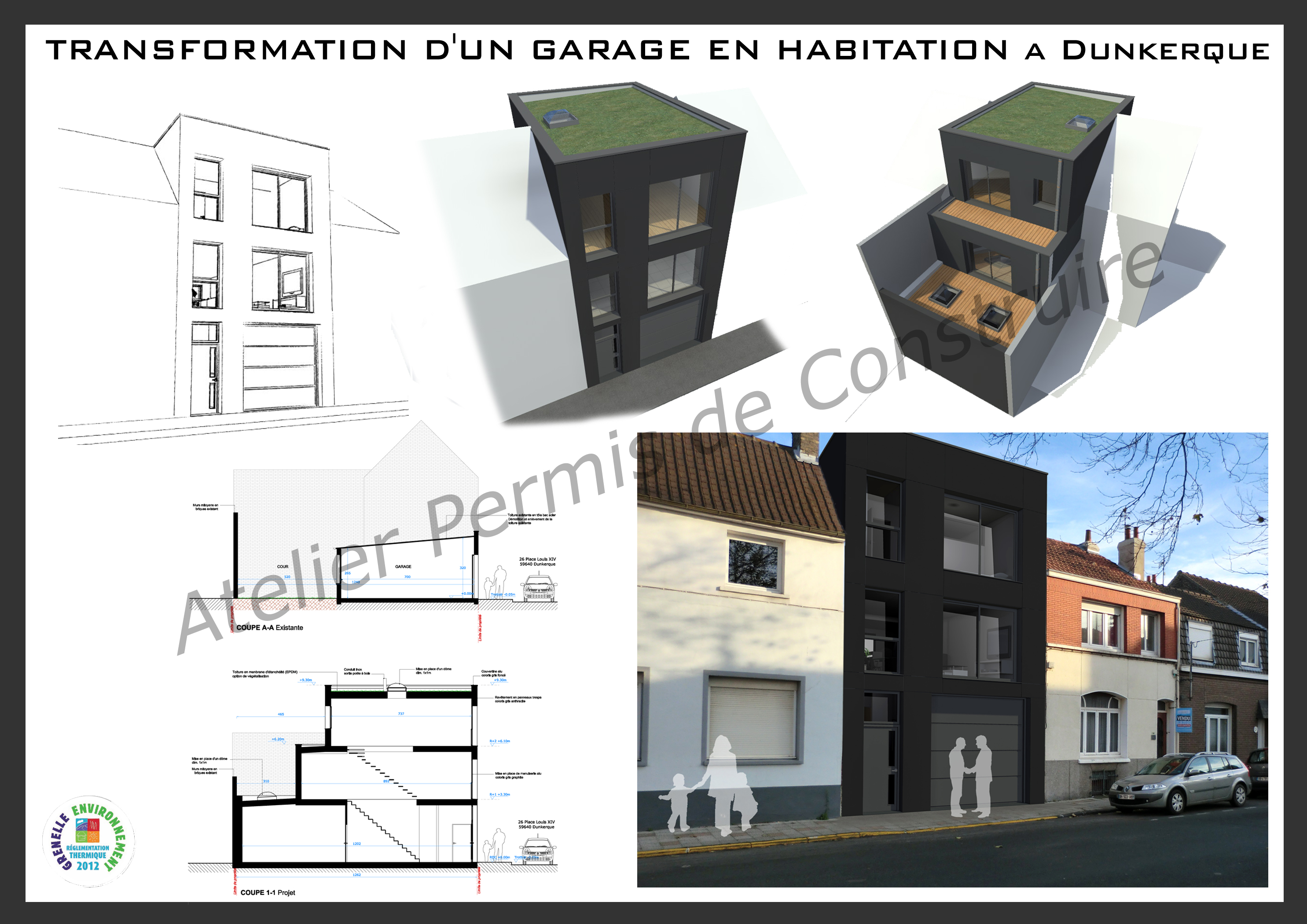 transformation d 39 un garage en habitation dunkerque. Black Bedroom Furniture Sets. Home Design Ideas